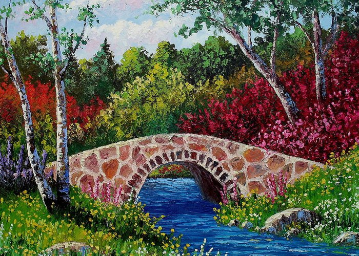 Landscape Greeting Card featuring the painting The Little Stone Bridge by David G Paul