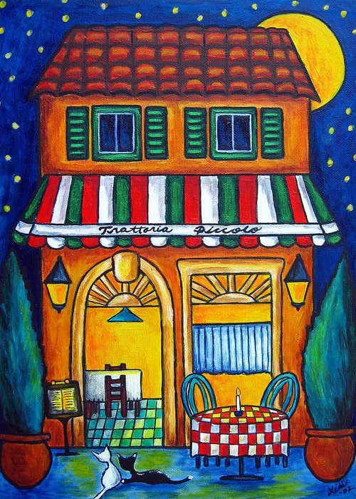 Blue Greeting Card featuring the painting The Little Trattoria by Lisa Lorenz