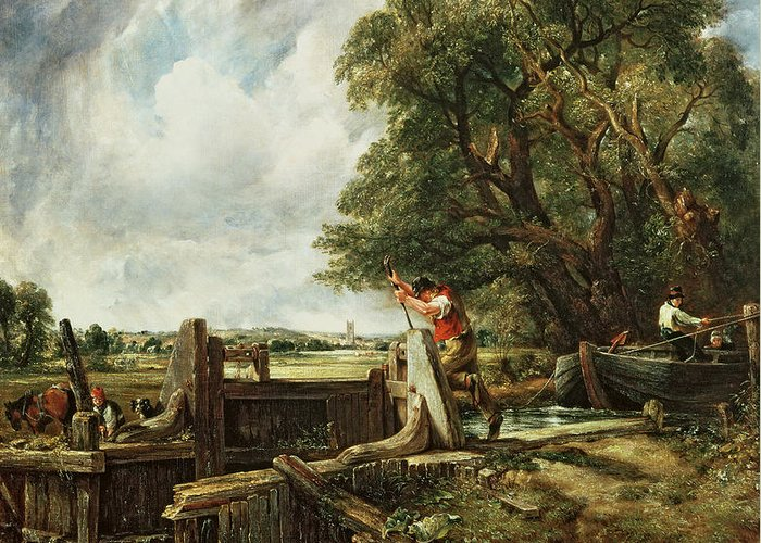 The Greeting Card featuring the painting The Lock by John Constable