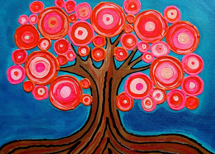 Tree Colorful Bright Funky Playful Pink Orange Abstract Greeting Card featuring the painting The Lollipop Tree by Pamela Cisneros