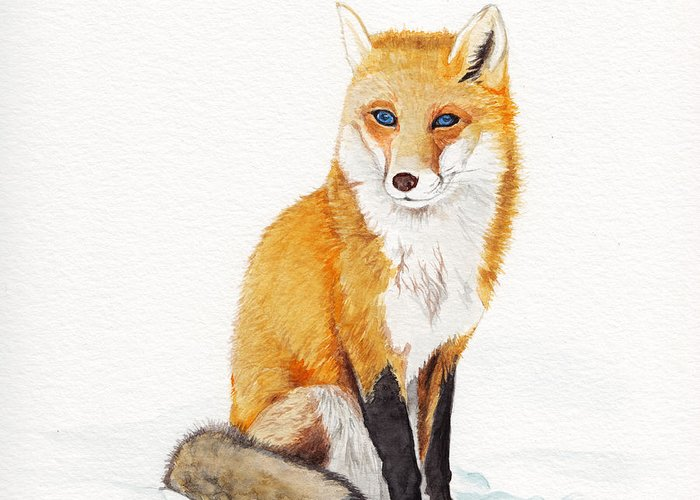 Fox Greeting Card featuring the painting The Lone Fox by Cheung Vong
