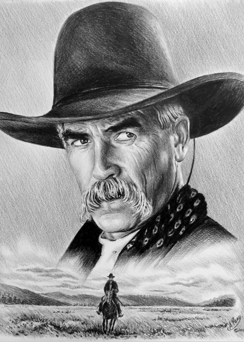 Sam Elliot Greeting Card featuring the drawing The Lone Rider by Andrew Read