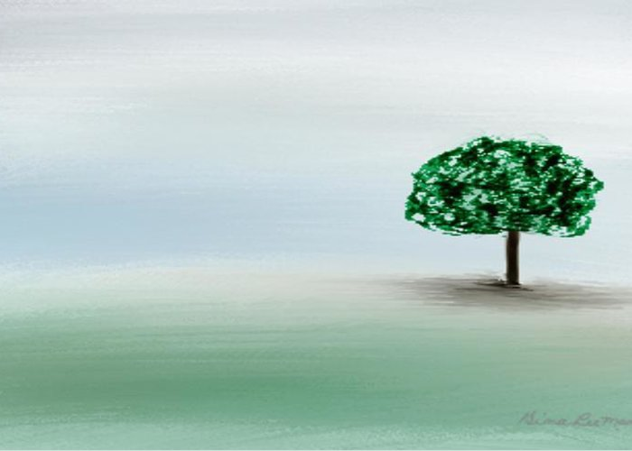 Custom Greeting Card featuring the painting The Lone Tree by Gina Lee Manley