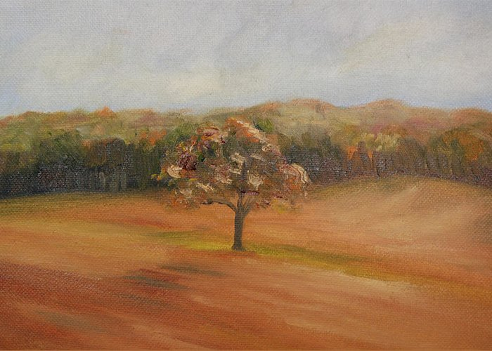 Oil Greeting Card featuring the painting The Lone Tree by Lisa Konkol