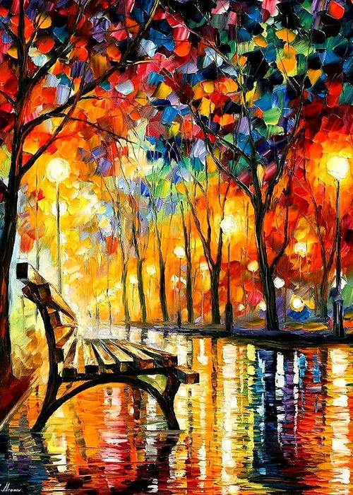 Afremov Greeting Card featuring the painting The Loneliness Of Autumn by Leonid Afremov