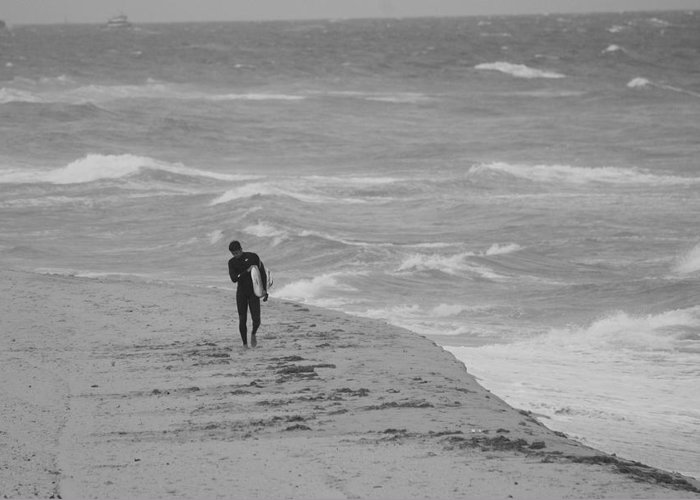 Black And White Greeting Card featuring the photograph The Lonely Surfer Dude by Rob Hans