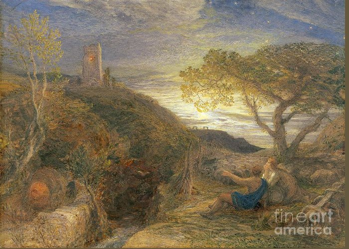 The Greeting Card featuring the painting The Lonely Tower by Samuel Palmer