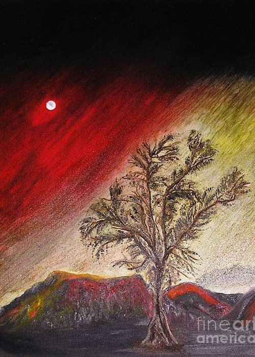 Tree Greeting Card featuring the painting The Lonely Tree by Pilar Martinez-Byrne