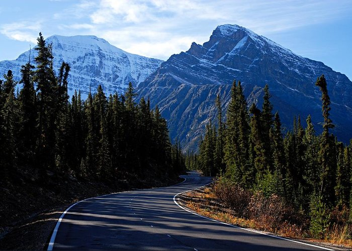 Mount Edith-cavell Greeting Card featuring the photograph The Long And Winding Road by Larry Ricker