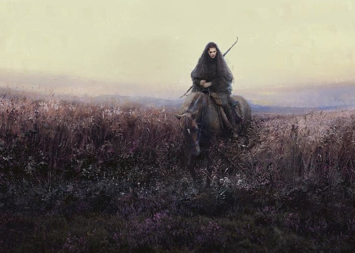 Warrioress Greeting Card featuring the painting The Long Ride by Eve Ventrue