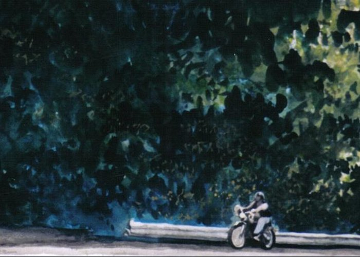 Watercolors Greeting Card featuring the painting the Long Ride by Saundra Lee York