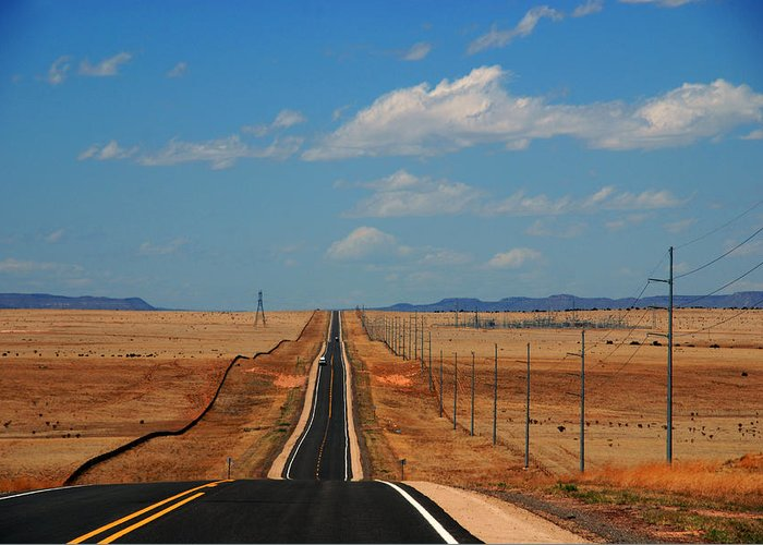 Long Road Greeting Card featuring the photograph The Long Road To Santa Fe by Susanne Van Hulst