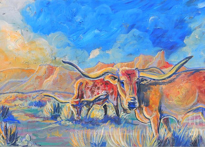 Longhorn Cattle Greeting Card featuring the painting The Longhorns by Jenn Cunningham