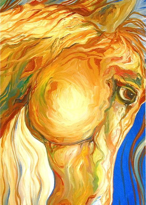 Equine Greeting Card featuring the painting The Look by Rebecca Robinson