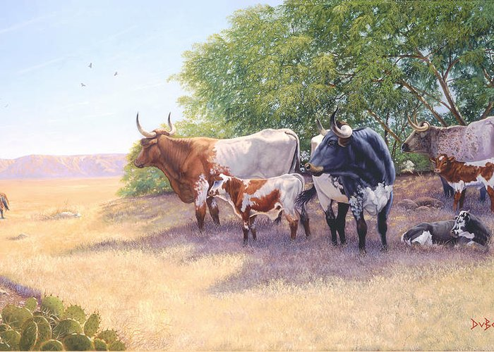 Longhorns Greeting Card featuring the painting The Lookers by Howard Dubois