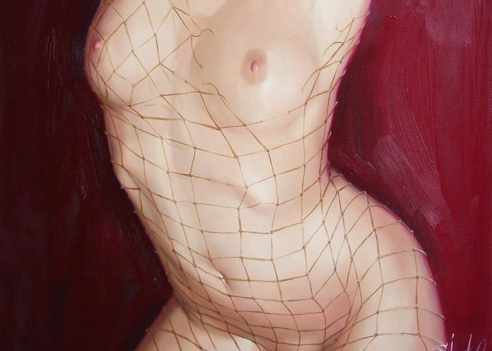 Art Greeting Card featuring the painting The love in net by Sergey Ignatenko