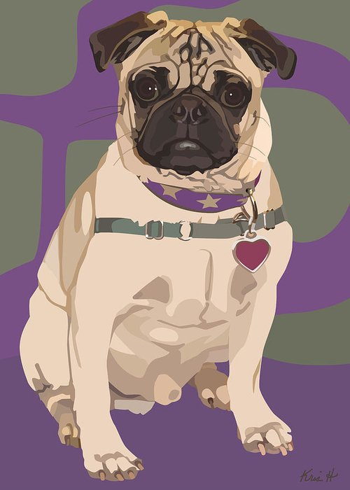 Pug With Stars Greeting Cards