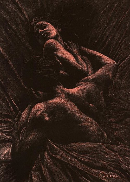 Nude Greeting Card featuring the pastel The Lovers by Richard Young