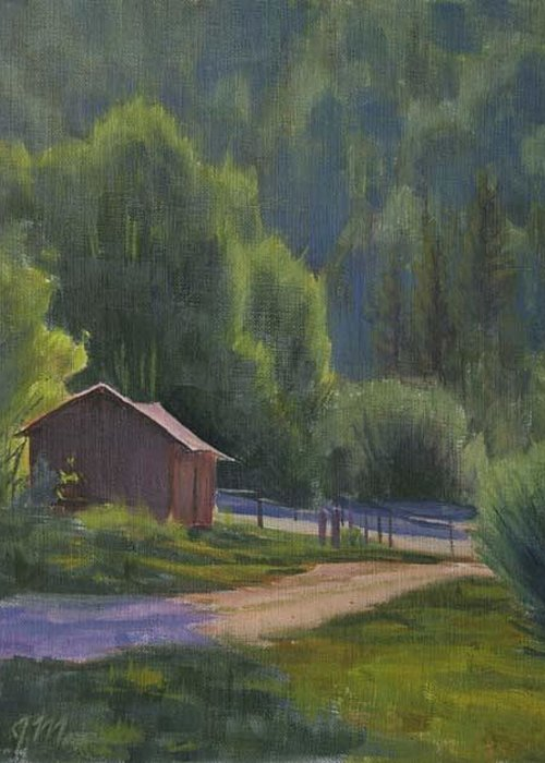 Country Road Greeting Card featuring the painting The Lower Corral - Rock Creek by Joe Mancuso
