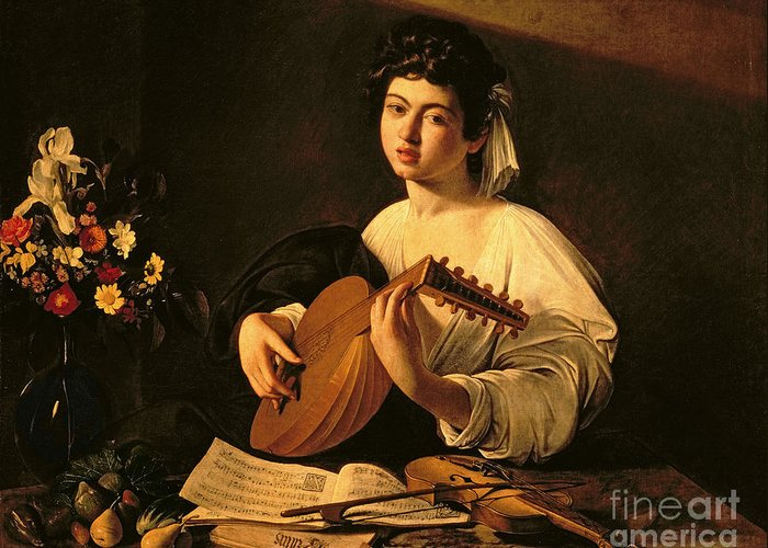 The Lute Player Greeting Card featuring the painting The Lute Player by Michelangelo Merisi da Caravaggio