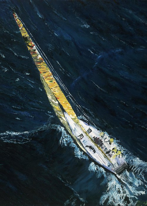Sailboat Greeting Card featuring the painting The Mac. Chicago To Mackinac Sailboat Race. by Gregory Allen Page