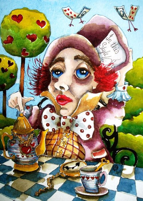 Mad Greeting Card featuring the painting The Mad Hatter by Lucia Stewart