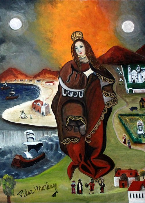 Madona Greeting Card featuring the painting The Madona by Pilar Martinez-Byrne