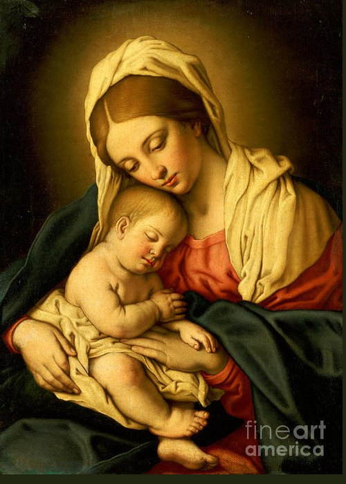 Mary Greeting Card featuring the painting The Madonna And Child by Il Sassoferrato