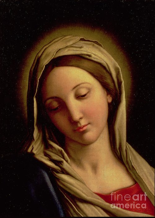 Mary Greeting Card featuring the painting The Madonna by Il Sassoferrato