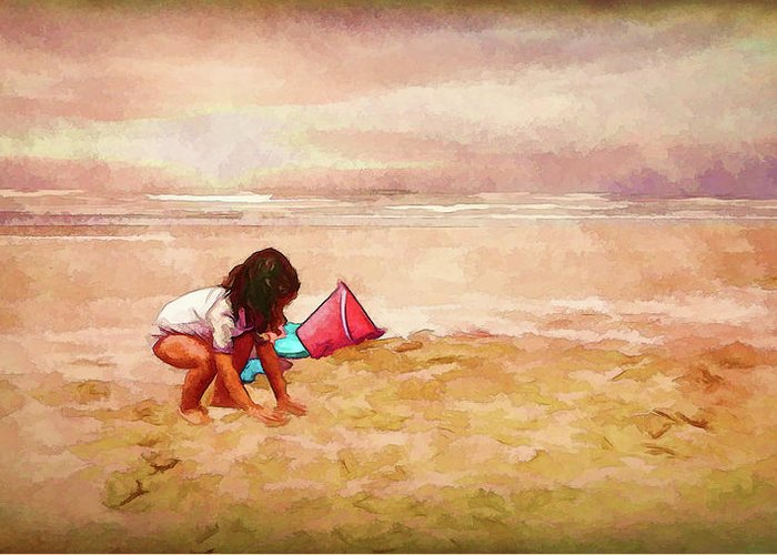 Little Girl On The Beach Greeting Card featuring the digital art The Magic Of Sand by Debbie Smith