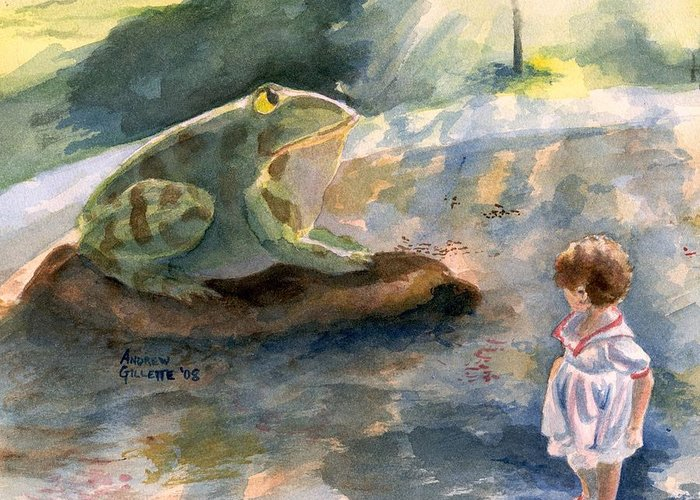 Child Greeting Card featuring the painting The Magical Giant Frog by Andrew Gillette