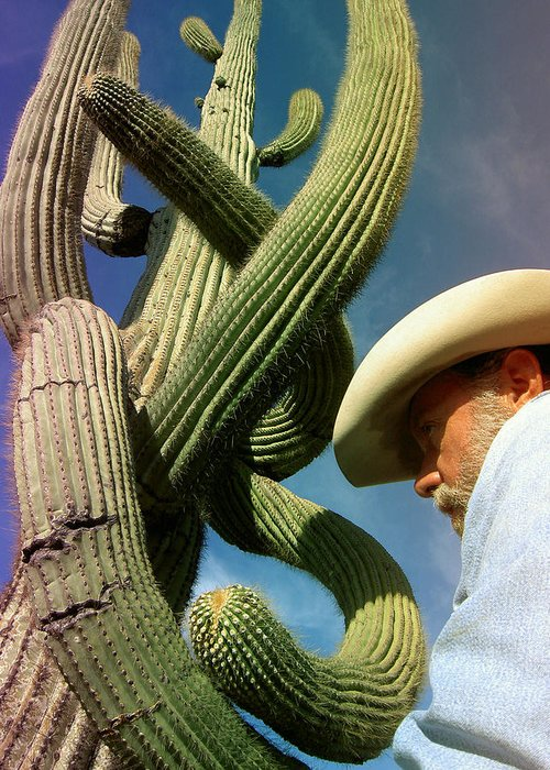 Cactus Greeting Card featuring the photograph The Man And The Cactus by Blima Efraim