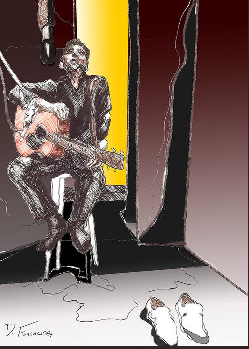 Acoustic Guitar Greeting Card featuring the digital art The Man In Black by David Fossaceca