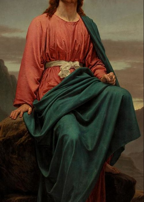 Jesus Christ; New Testament; Biblical Scene; Halo; Desert; Seated; Full Length; Temptation Greeting Card featuring the painting The Man Of Sorrows by Sir Joseph Noel Paton