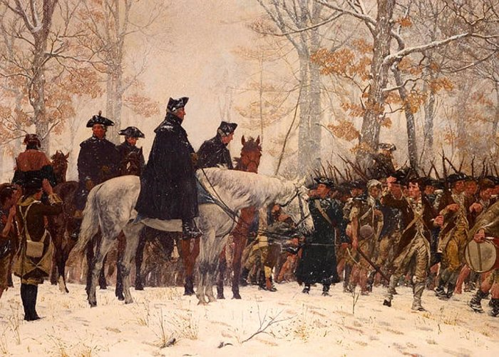 Painting Greeting Card featuring the painting The March To Valley Forge by Mountain Dreams