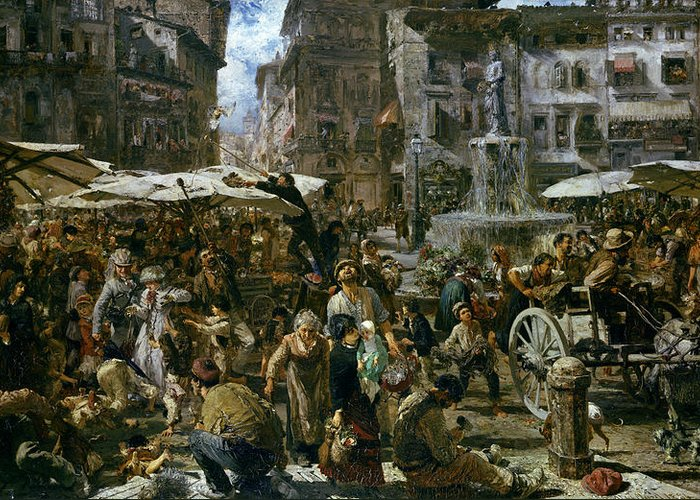 The Greeting Card featuring the painting The Market Of Verona by Adolph Friedrich Erdmann von Menzel