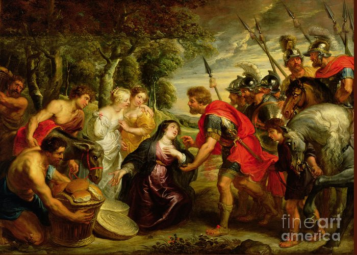 Dtr140303 Greeting Card featuring the photograph The Meeting Of David And Abigail by Peter Paul Rubens