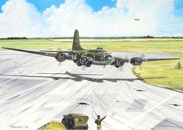 Military Greeting Card featuring the painting The Memphis Belle by Marc Stewart
