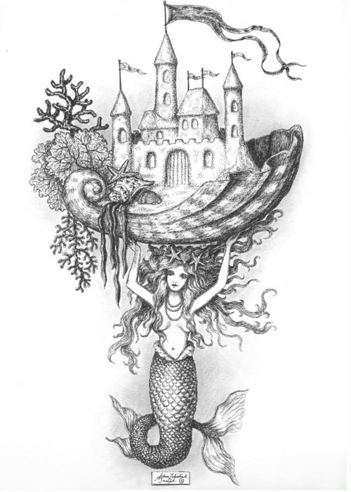 Black Greeting Card featuring the drawing The Mermaid Fantasy by Adam Zebediah Joseph