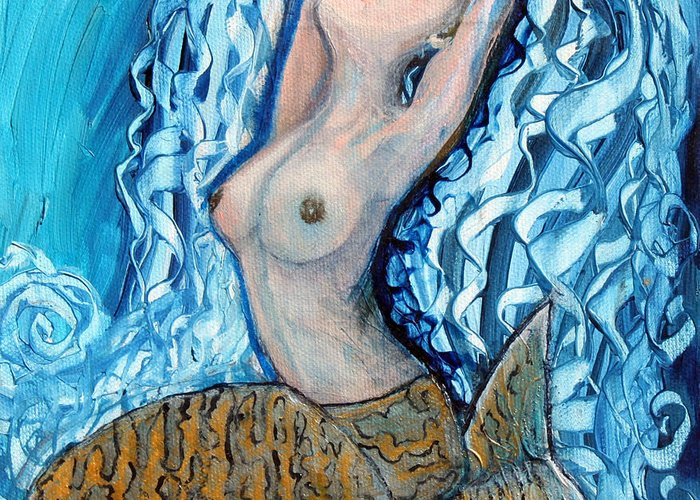 Mermaid Greeting Card featuring the painting The Mermaid by Pilar Martinez-Byrne