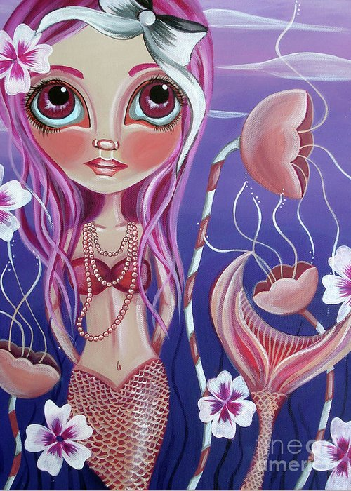 Mermaid Greeting Card featuring the painting The Mermaid's Garden by Jaz Higgins