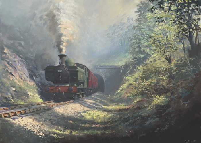 Steam Greeting Card featuring the painting The Merthyr Tunnel by Richard Picton