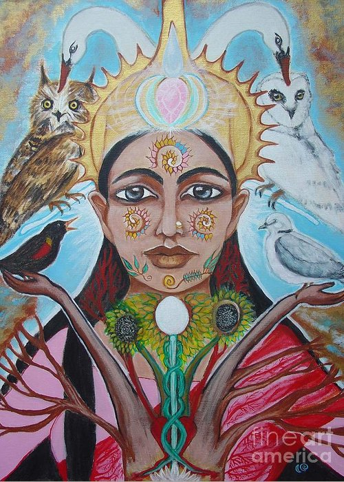Goddess Greeting Card featuring the painting The Messenger by Tammy Mae Moon