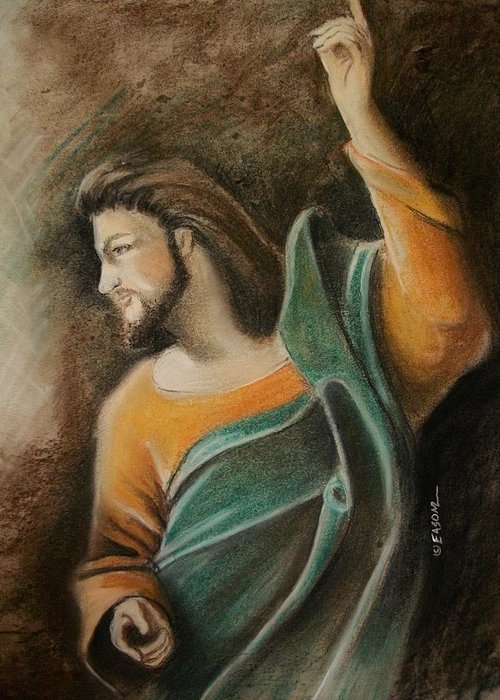Jesus Greeting Card featuring the pastel The Messiah by Scott Easom