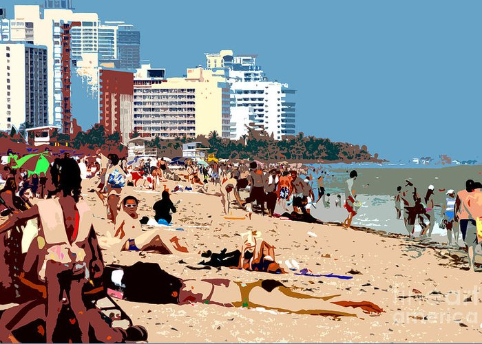 Miami Beach Florida Greeting Card featuring the photograph The Miami Beach by David Lee Thompson
