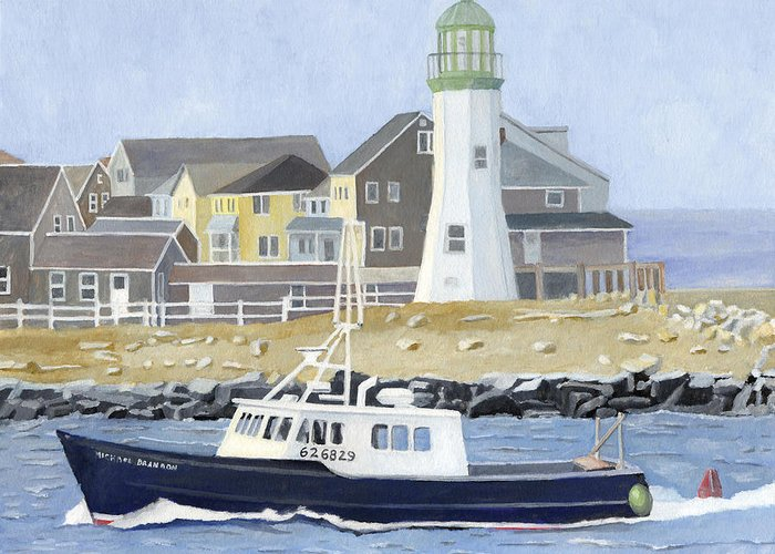 Fishingboat Greeting Card featuring the painting The Michael Brandon by Dominic White