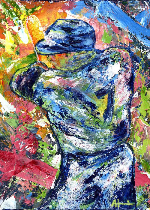 Oil Painting Art Artwork Acrylic Impressionist Impressionism Palette Knife Texture Giclee Print Reproduction Colorful Bright Athlete Athletic Sports Figures Human Mickey Mantle Left Handed New York Yankees Mick Baseball Switch Hitter Mlb Major League Professional Champion Throwing Catch Outfield Shortstop First Second Third Single Double Triple Base Grand Slam No Hitter Play Of The Day Highlight Uniform Stadium Commitment Consecutive Record Hits Home Run Runs Batted In Rbi Color Colour Colourful Greeting Card featuring the painting The Mick Mickey Mantle by Ash Hussein