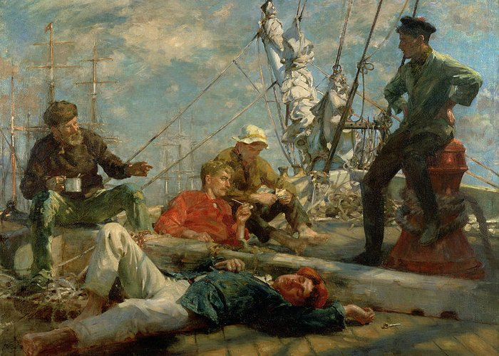 Marine; Ship; Resting; Break; Lying Down; Dozing; Talking; Conversation; Pipe; Mug; Mast; Deck; Marine; Old Salt; Newlyn School Greeting Card featuring the painting The Midday Rest Sailors Yarning by Henry Scott Tuke