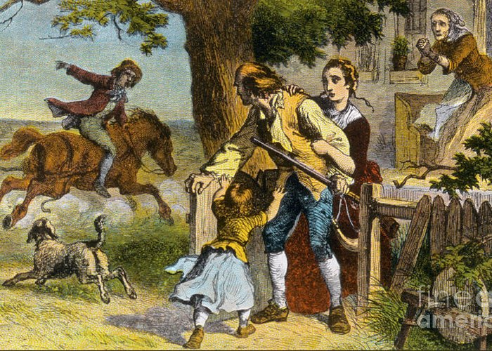 History Greeting Card featuring the photograph The Midnight Ride Of Paul Revere 1775 by Photo Researchers
