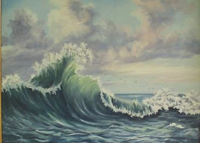 Atlantic Ocean Greeting Card featuring the painting The Mighty Atlantic by Wanda Dansereau